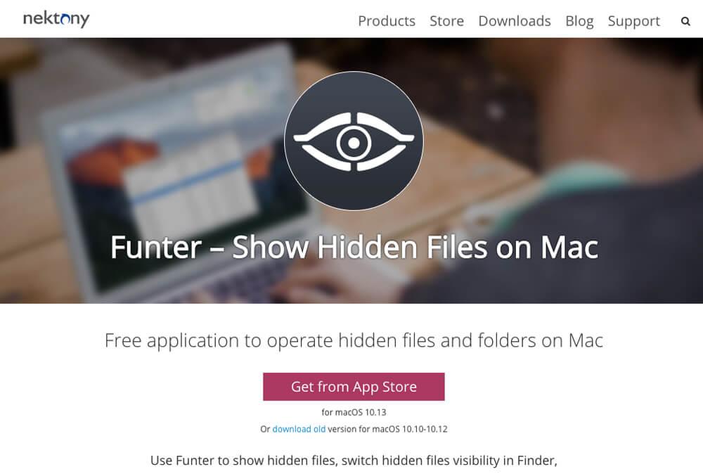 Macで「隠しファイル」の表示を切り替えるアプリ「Funter」のホームページ