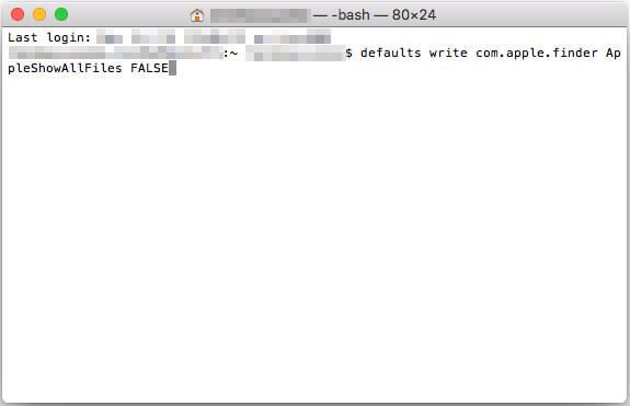 「隠しファイル」を非表示のコマンドを入力