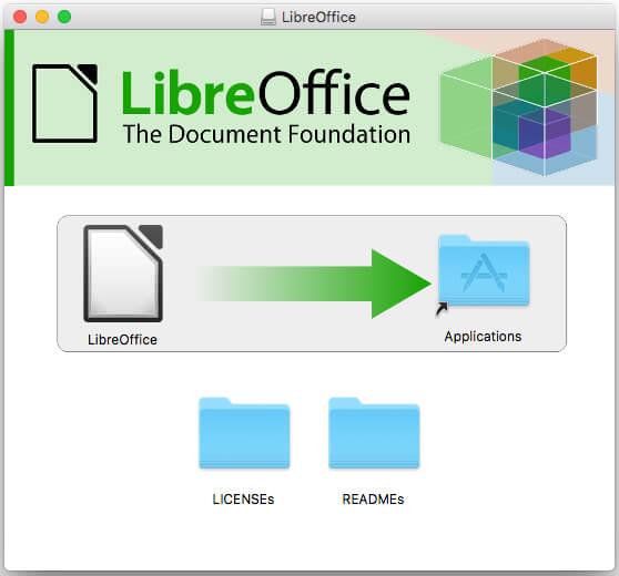 「LibreOffice」アイコンを「アプリケーションフォルダ」にドラッグ&ドロップ