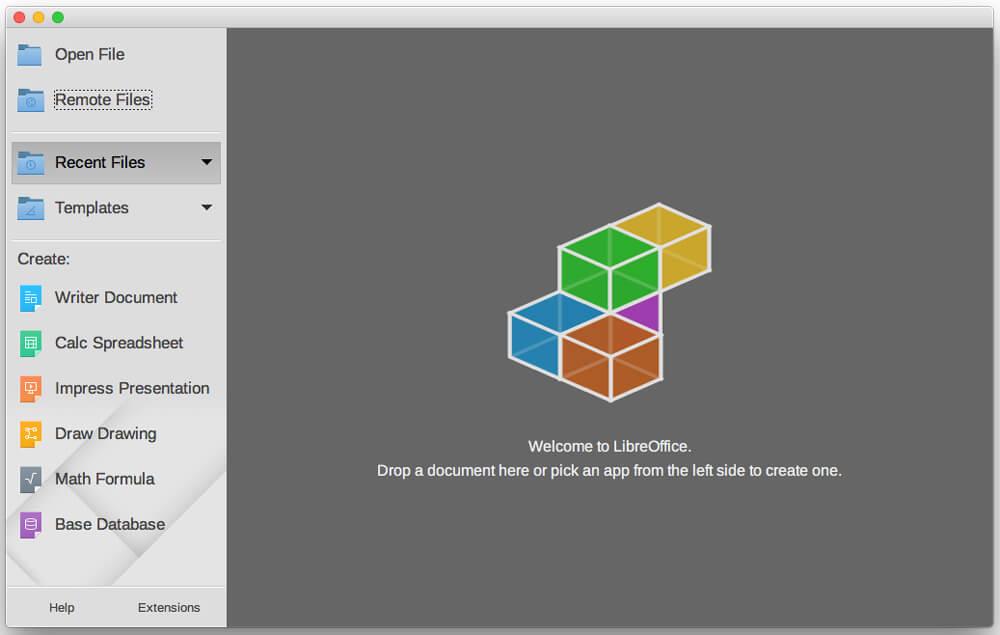Mac版LibreOfficeスタート画面(英語表記)