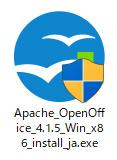 「Apache_OpenOffice_○.○.○_Win_x86_install_ja.exe」をクリック