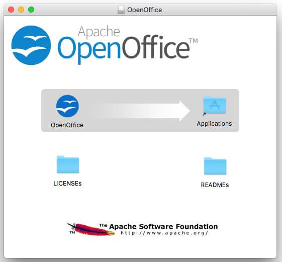 「OpenOffice」のセットアップ画面が表示されるので、「OpenOffice」アイコンを「アプリケーションフォルダ」にドラッグ&ドロップ