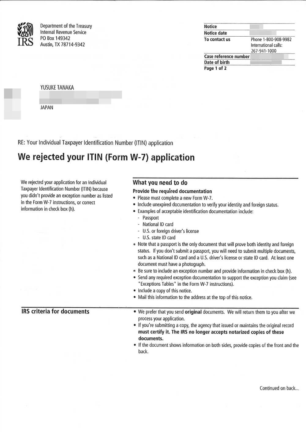 ITINの申請書類が返却された時の手紙