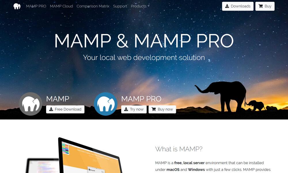 インストールに必要な「MAMP」のプログラムファイルをダウンロード