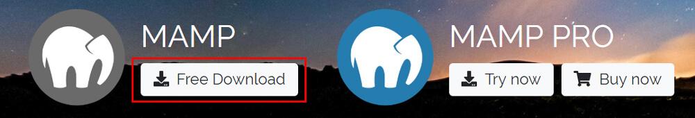 「MAMP」の「Free Download」ボタンをクリック