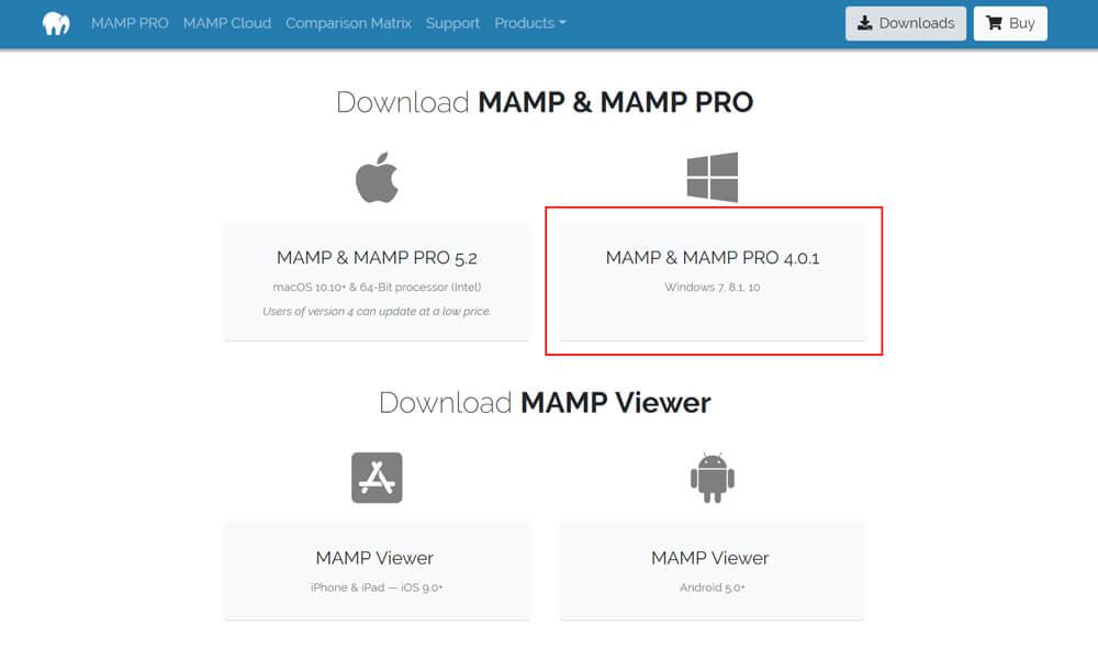 Windowsマークの下の「MAMP & MAMP PRO 4.0.1」ボタンをクリック