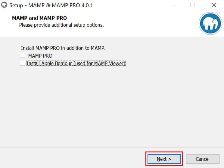 「MAMP PRO」のインストールはチェックを外して「Next」ボタンをクリック