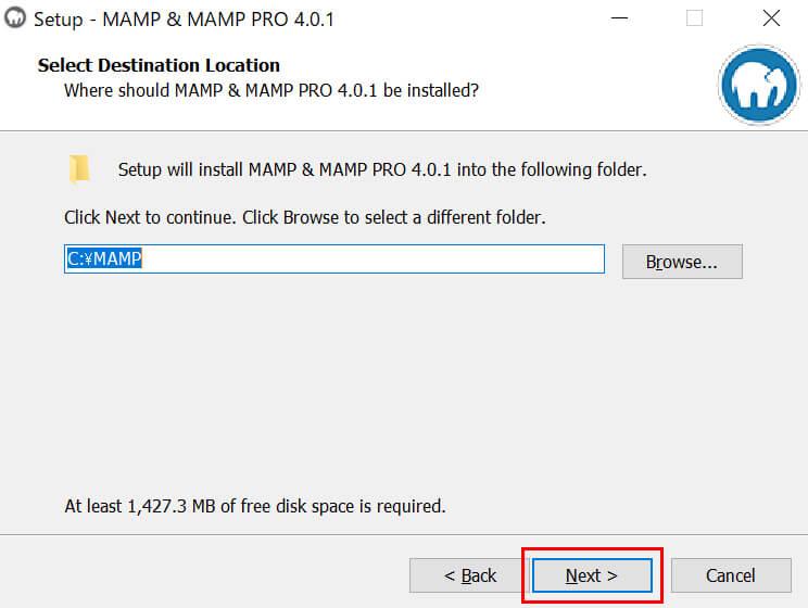 「MAMP」ファイルをインストールする場所を選び「Next」ボタンをクリック