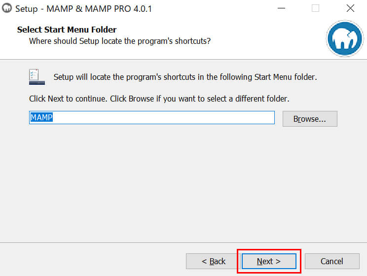 「MAMP」のスタートメニューをインストールする場所を選び「Next」ボタンをクリック