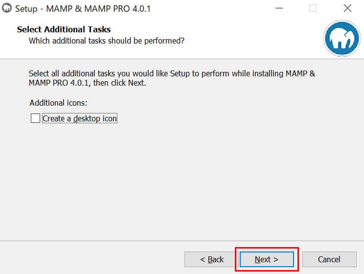 デスクトップにショートカットを作る場合はチェックを入れ「Next」ボタンをクリック