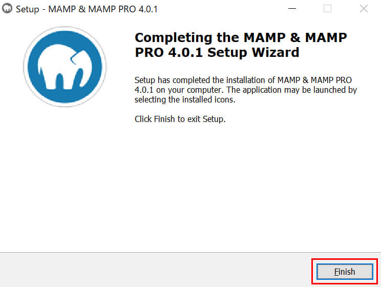 「MAMP」のインストール完了画面で「Finish」ボタンをクリック
