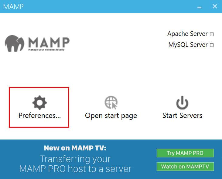 「MAMP」が立ち上がるので「Preferences...」をクリック