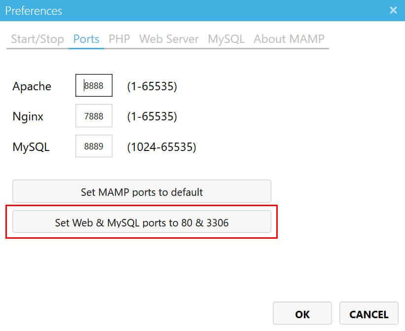 「Set Web & MySQL ports to 80 & 3306」ボタンをクリック