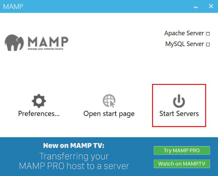 「MAMP」を立ち上げ「Start Servers」をクリック