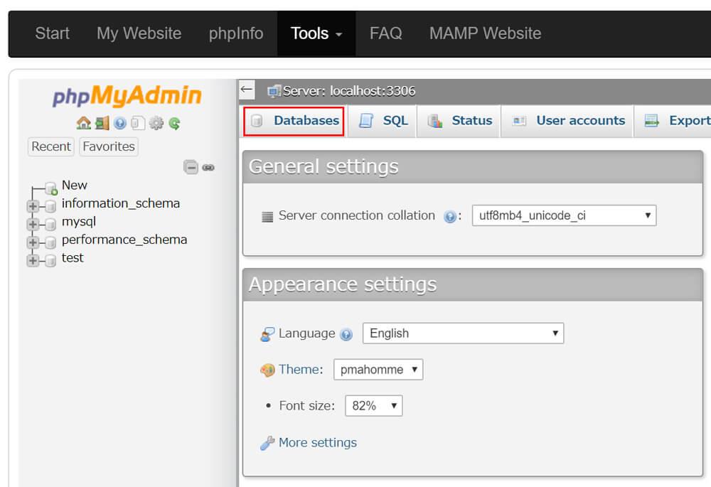 データベースが表示されたら「Databases」をクリック