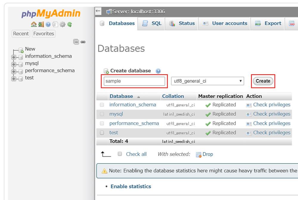 データベース名「sample」を入れ、「Create」ボタンをクリック