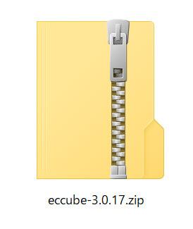 ダウンロードフォルダに「EC-CUBE3.0.17」のzipファイルがダウンロード