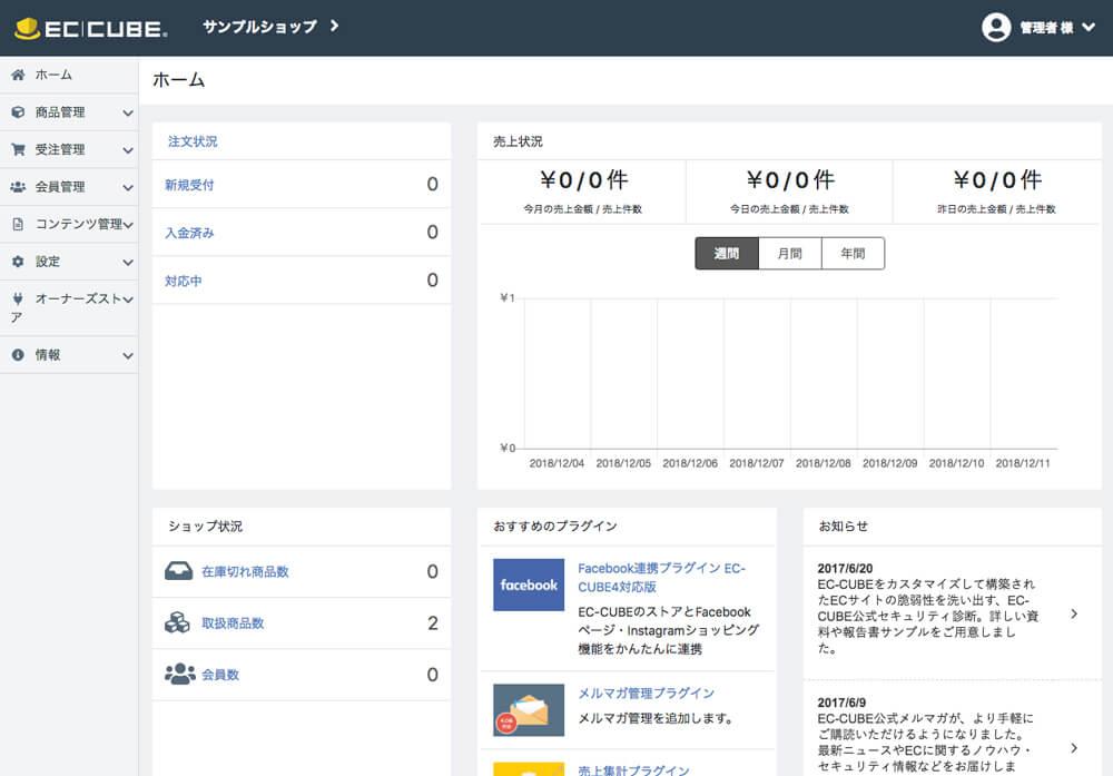「EC-CUBE4」の管理画面