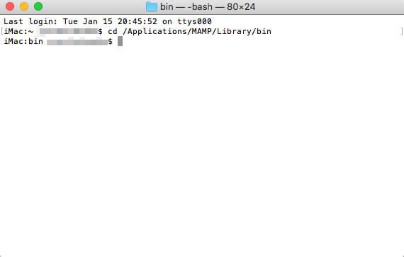 「MySQLモニタ」に入る直前の画面
