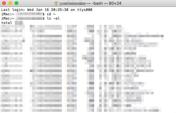 「ls -al」で表示されたホームディレクトリのファイル一覧