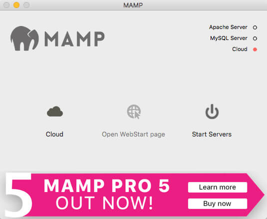 「MAMP」の画面が立ち上がります