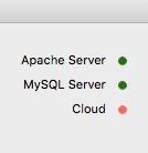 右上の「Apache Server」と「MySQL Server」に緑のランプがつけば準備完了
