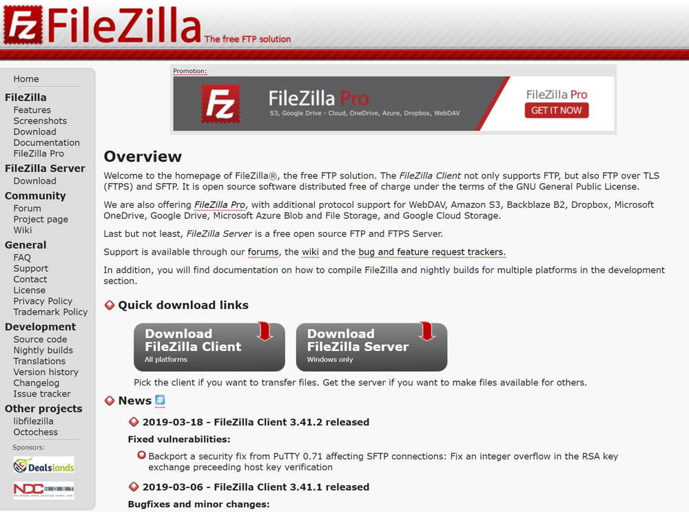 FileZilla公式サイト