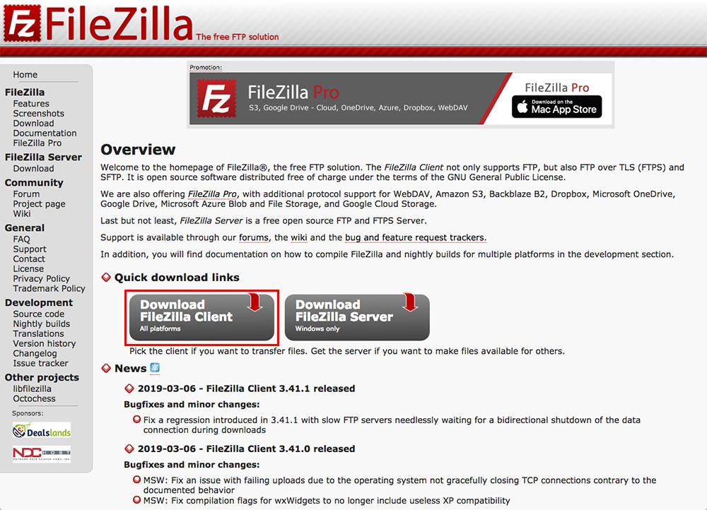 「FileZilla」公式サイトで灰色の「Download FileZilla Client」ボタンをクリック