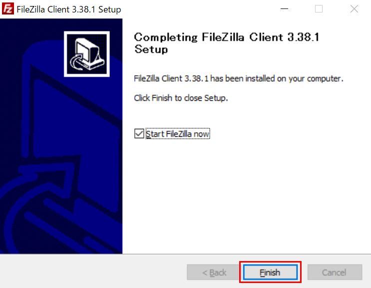 「Completing FileZilla Client 〇.〇〇.〇 Setup」と表示されるので「Finish」ボタンをクリック