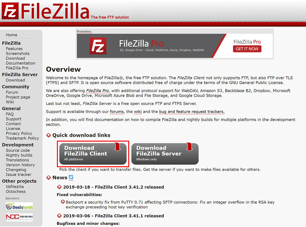 左側の「Download FileZilla Client All platforms」ボタンをクリック