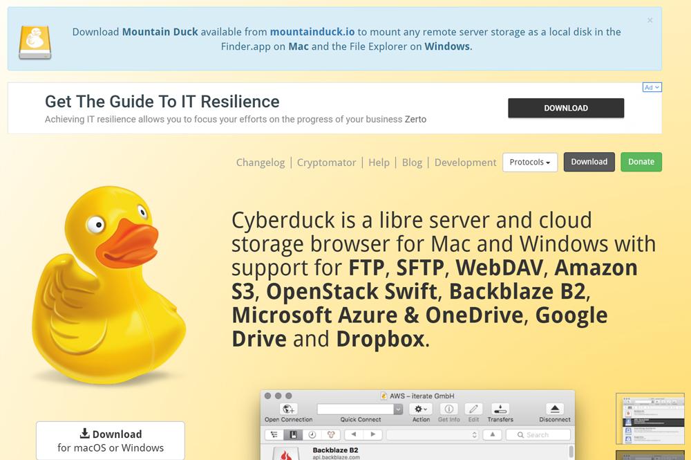 FTPクライアント「Cyberduck」の公式ページを開く