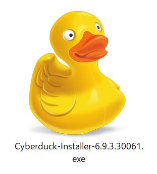 ダウンロードフォルダの「Cyberduck-Installer-〇.〇.〇.〇〇〇.exe」をクリック