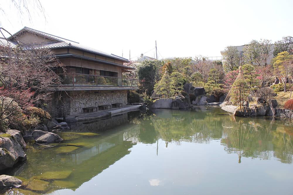赤鳥庵と大きな池