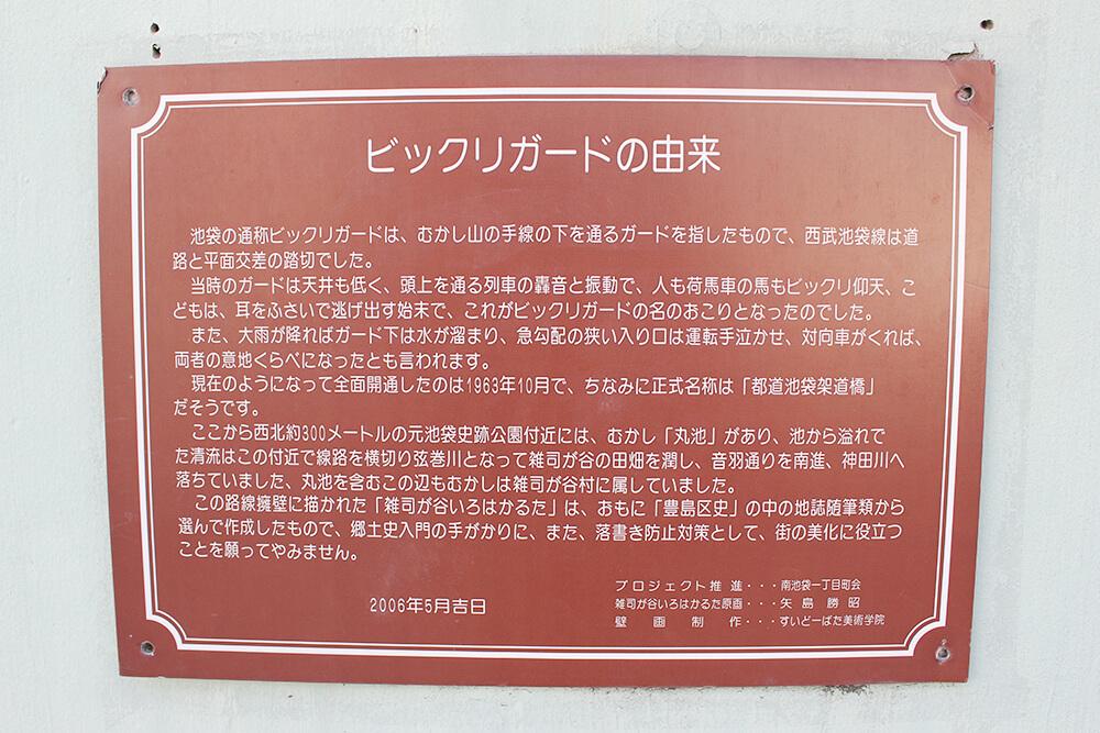 「びっくりガード」の由来が書かれている赤いプレート