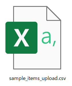 先ほどの「sample_items_upload.csv」を開く