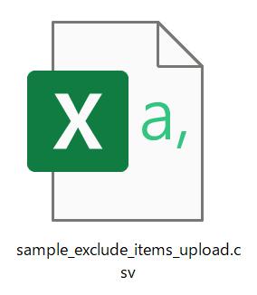 先ほどダウンロードした「sample_exclude_items_upload.csv」を開きます