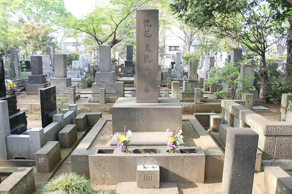 泉鏡花の墓石