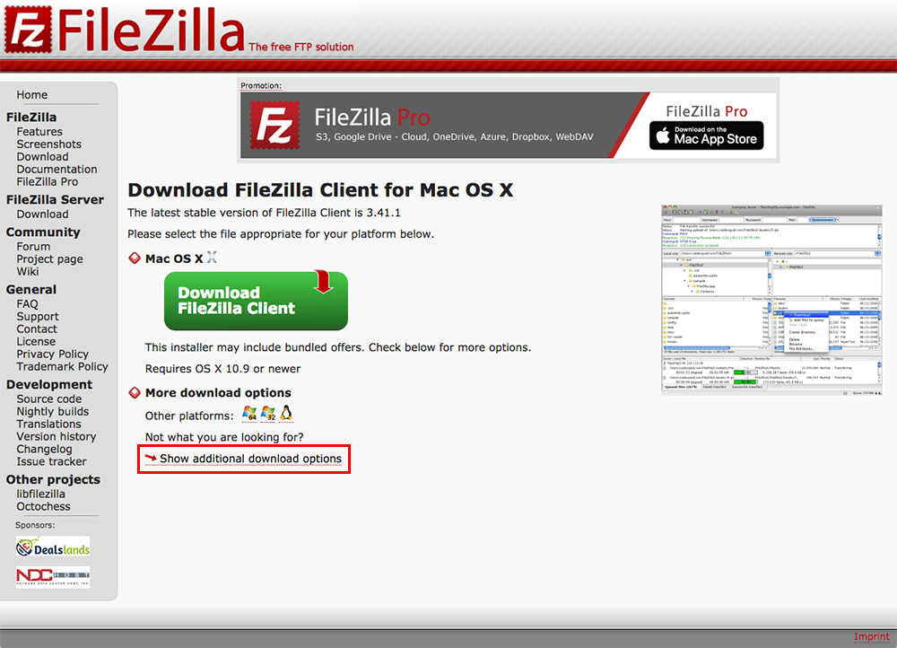 もしくは「Download FileZilla Client for Mac OS X」のページで「Show additional download options」という文字をクリックします