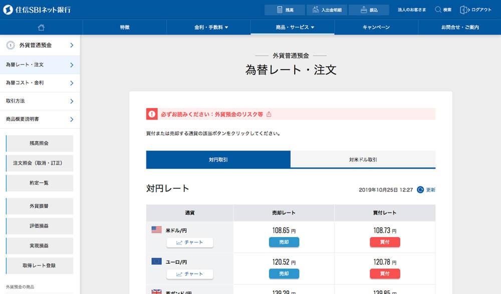「為替レート・注文」のページが表示