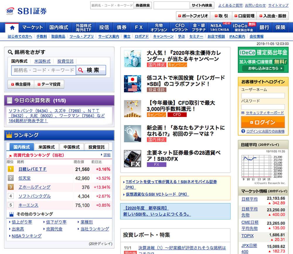 パソコンで「SBI証券」のトップページを開く