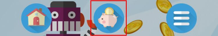 画面下部にある「ブタの貯金箱」のアイコンをタップ