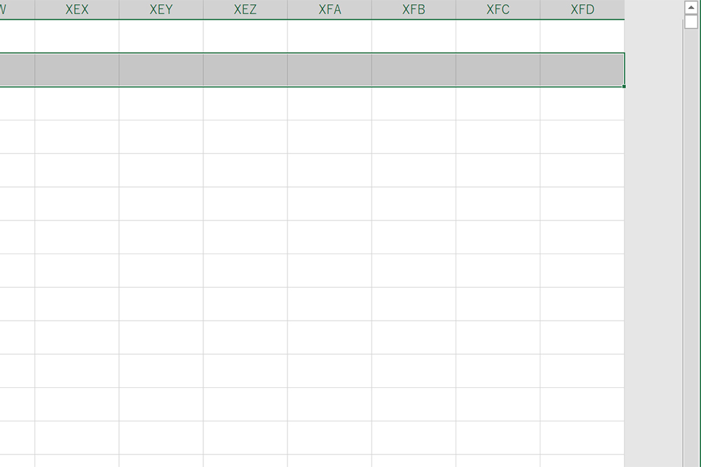 Excelの一番右端である「XFD列」まで選択されています