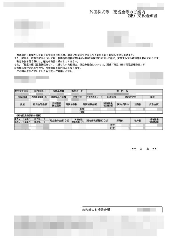 外国株式等 配当金のご案内(兼)支払通知書