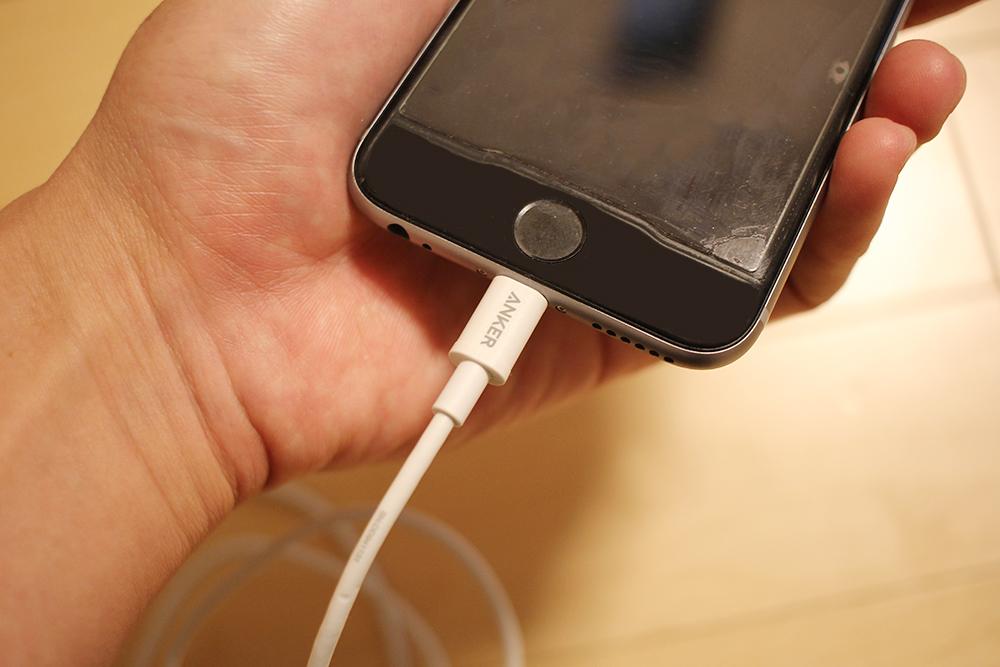 iPhoneの穴に差し込みます