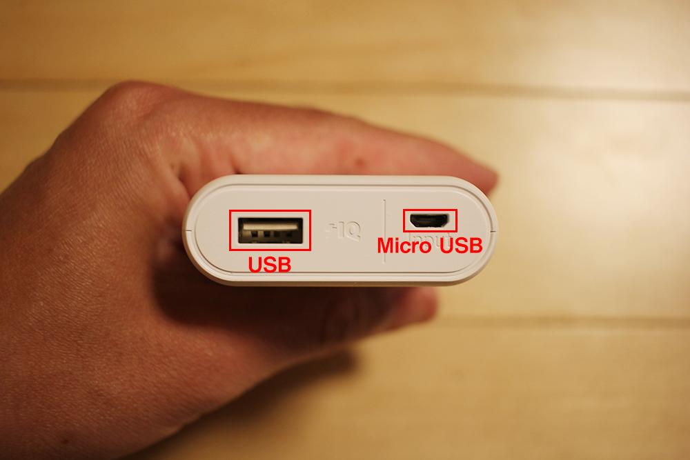USBポートとMicro USBポート