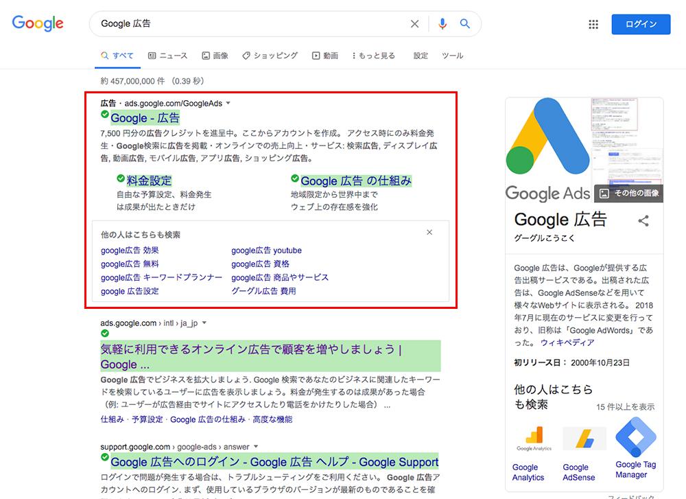 一番上に「Google広告」の広告が出ているのでクリック