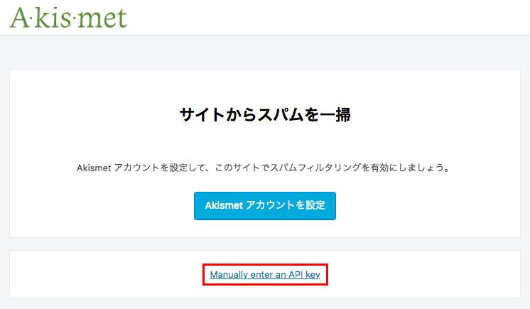 赤枠の「Manually enter an API key」をクリックします