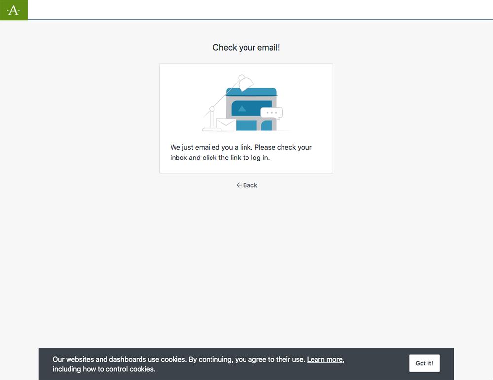 「Check your email!」というページが表示されるので送られてきたメールを確認します