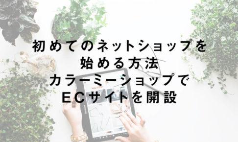初めてのネットショップを始める方法|カラーミーショップでECサイトを開設