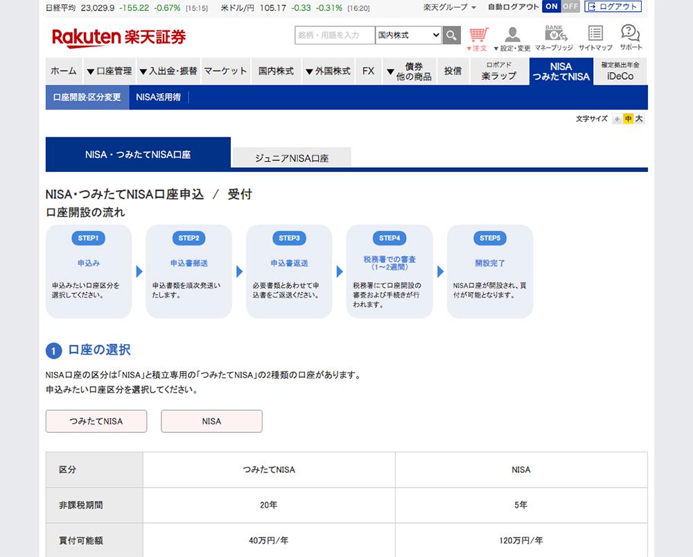 「NISA・つみたてNISA口座申込 / 受付」ページが表示